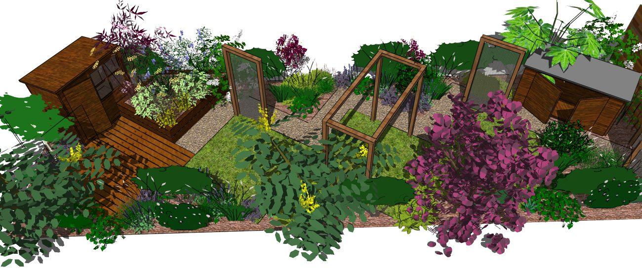 Garden design hertfordshire a long thin landscape garden for Long garden ideas