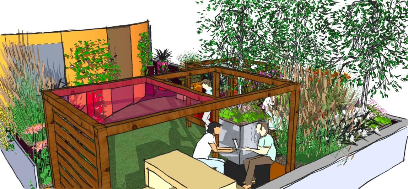 London garden design east london a funky roof terrace for Garden design east london