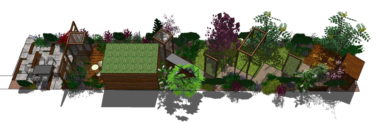 This long  thin. London Garden Design  Stanmore  Taking a different path   Earth