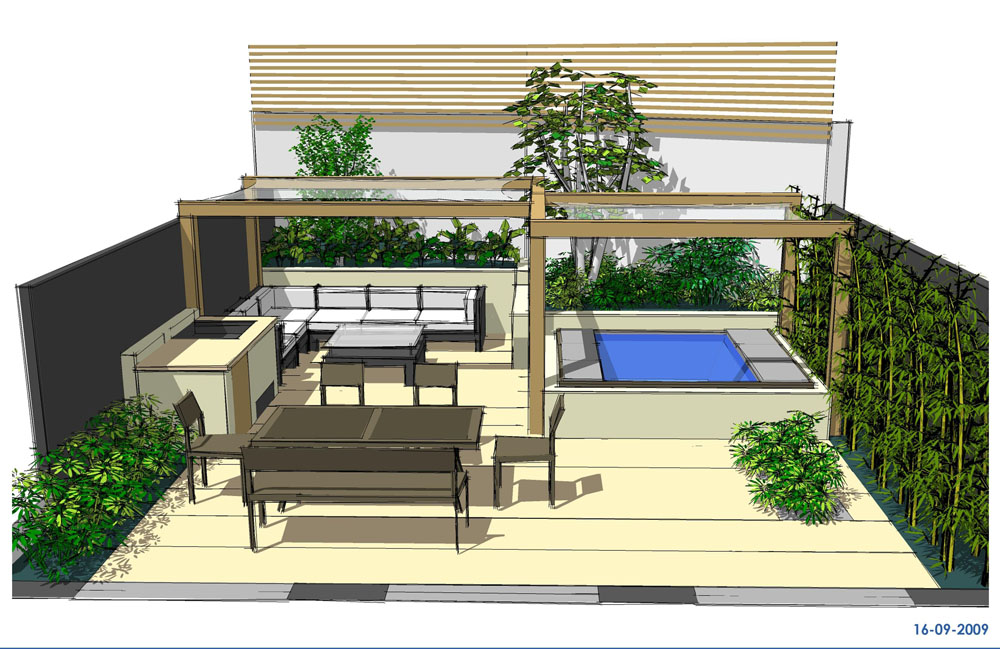 Hot tub garden design North London Earth Designs Garden Design