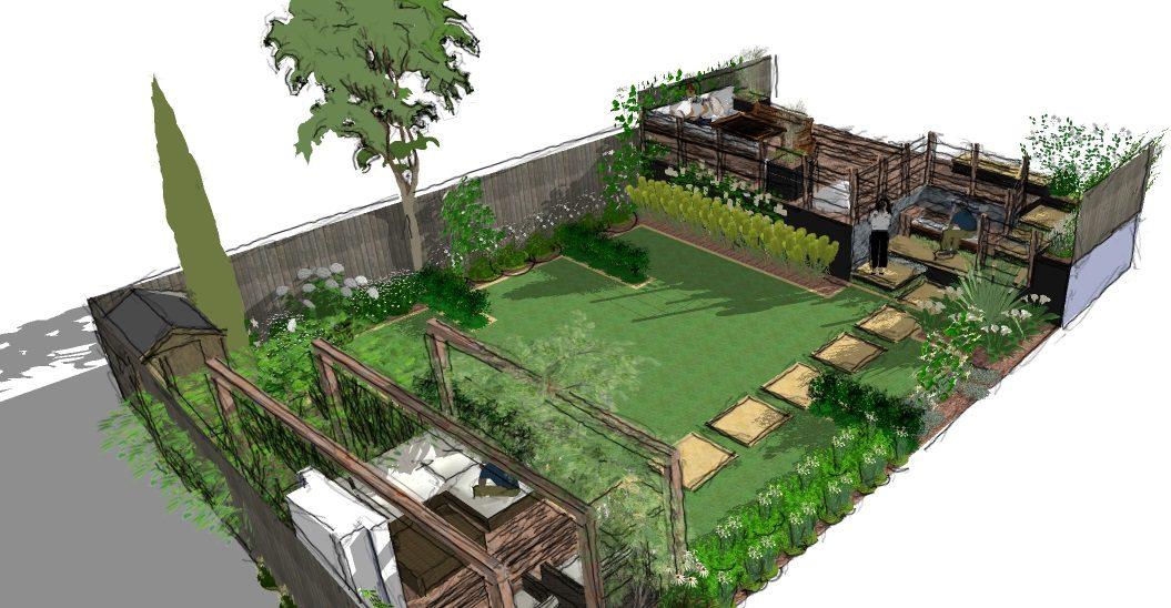 A modern garden design presentation split level earth for Split level garden designs