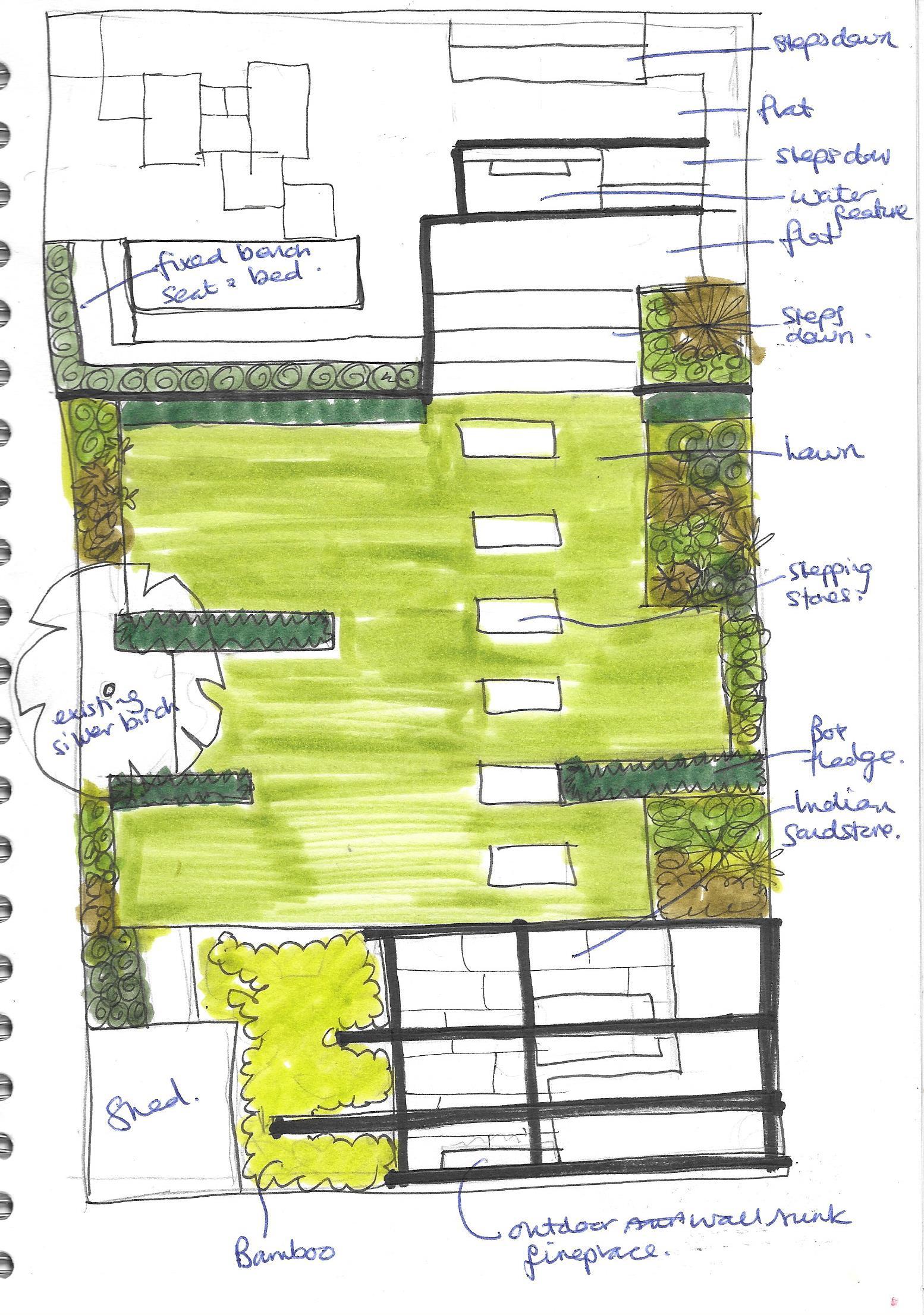 A modern garden design presentation split level earth for Garden design level 3