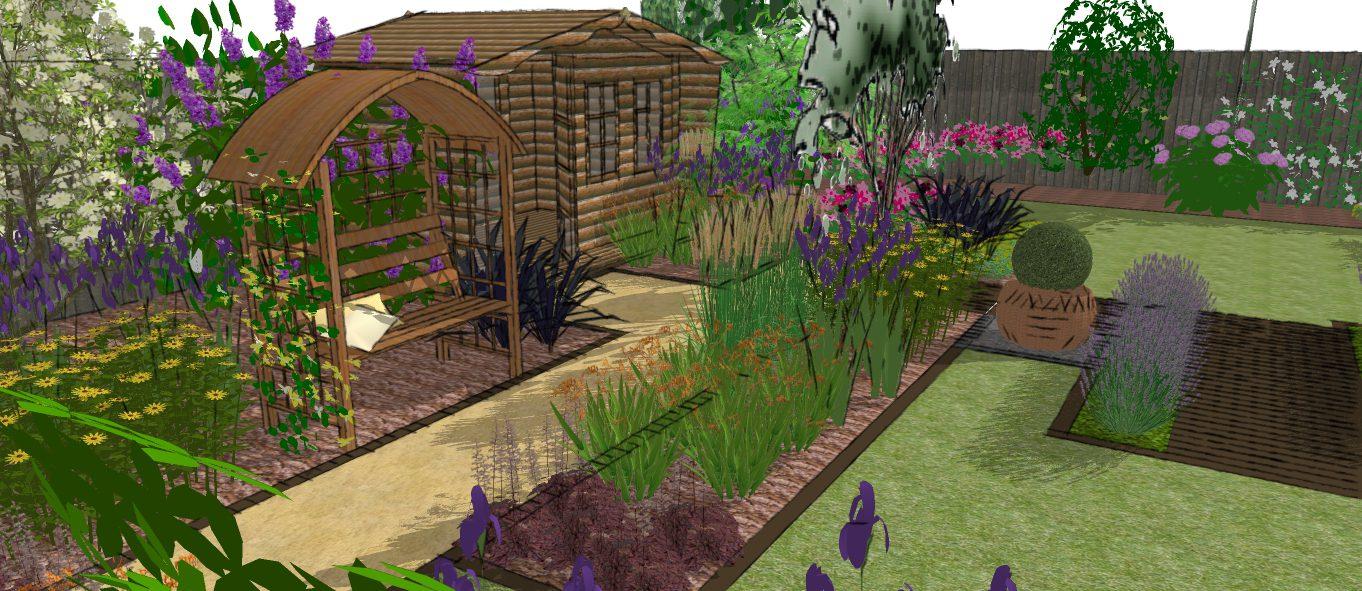 Modern garden design presentation a family garden for Garden design visualiser