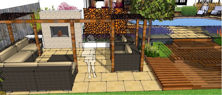 A lounging area on the lower level encourages use of the whole garden
