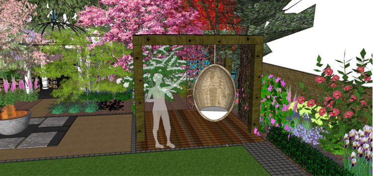 A pergola to house a swing, and a peek into the bottom of the garden