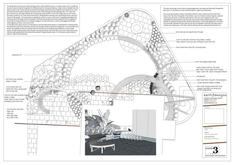 Hockley garden design plan to scale detailing the project