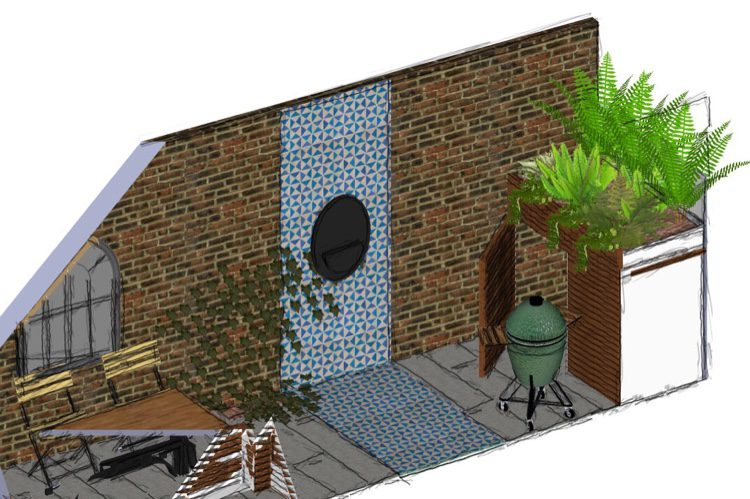 Self contained water feature creates a focal point