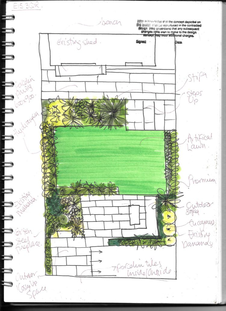 West Ham garden design sketches of ideas