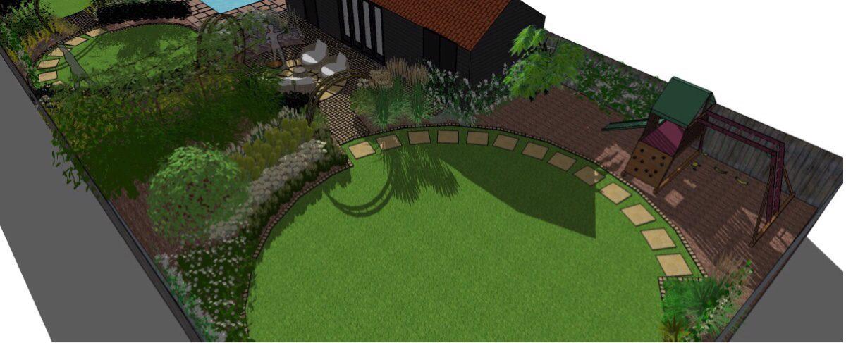 A series of circular lawns run through the space