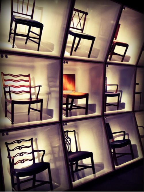 Chairs are grouped next to their closes relatives