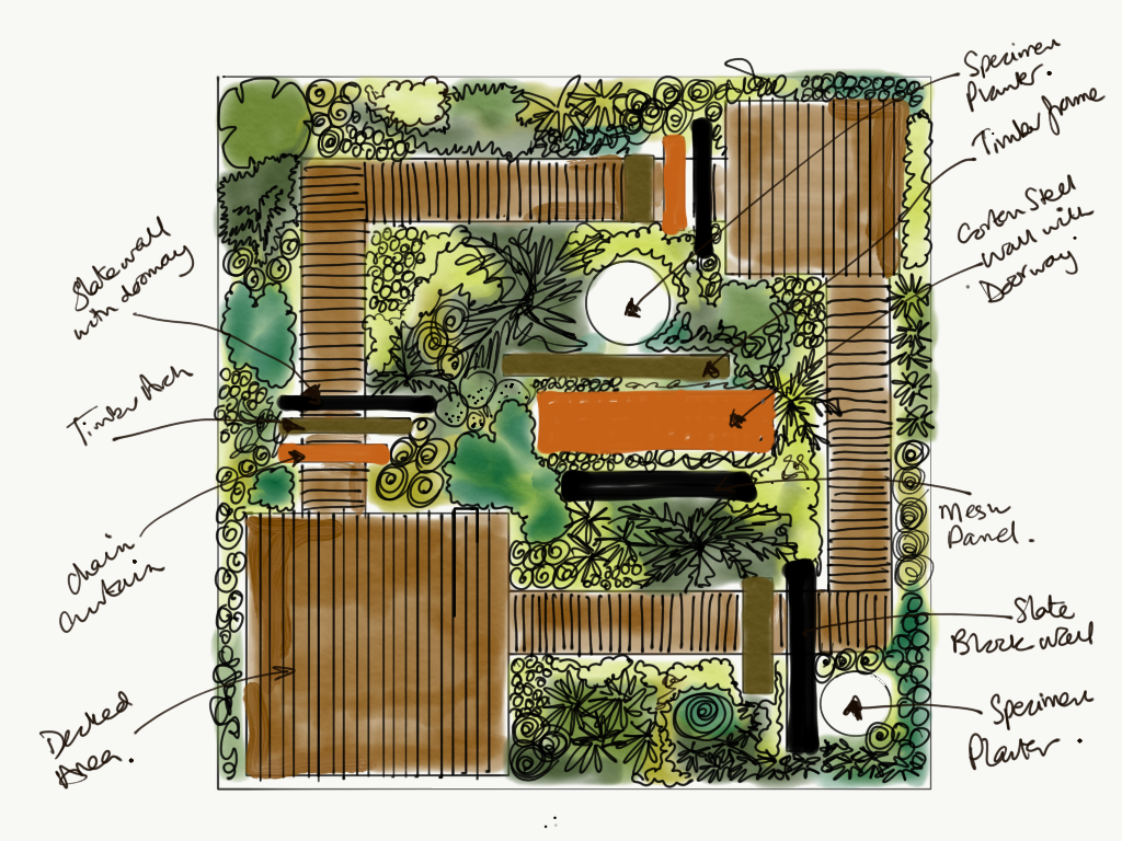 Garden design sketch based on Baroque theatre