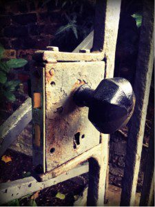 Worn iron gate door knob