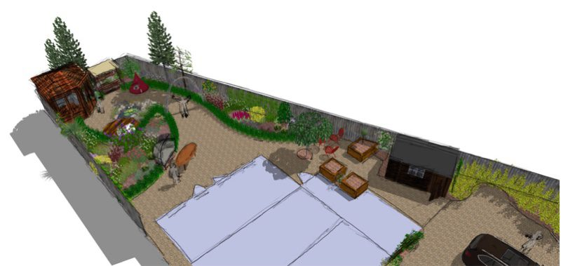 A curvey garden approach for this space