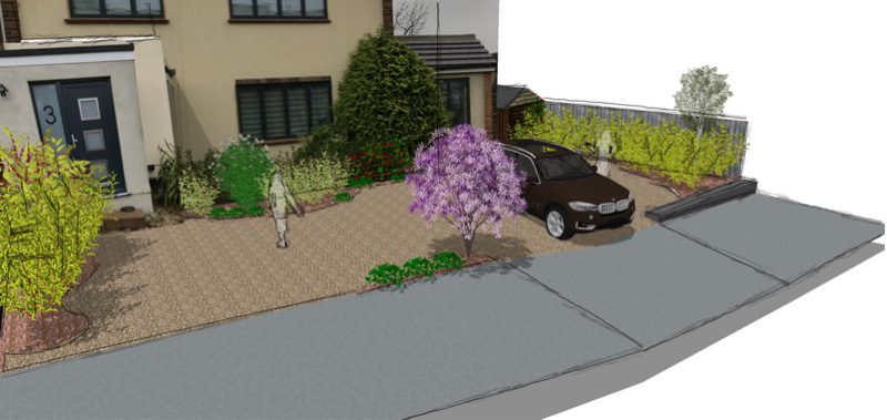 Front of the house with parking for two cars