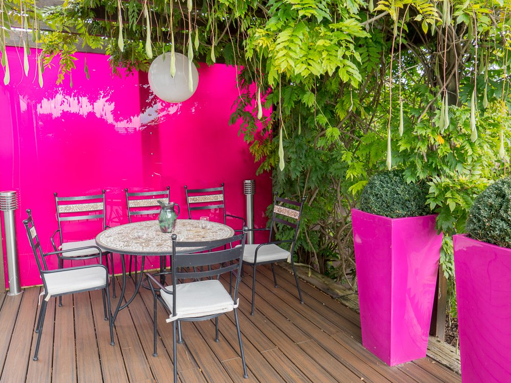 wisteria and pink perspex wall