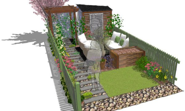An area in the centre of the garden in the raised bed gives the opportunity for 'grow your own'.