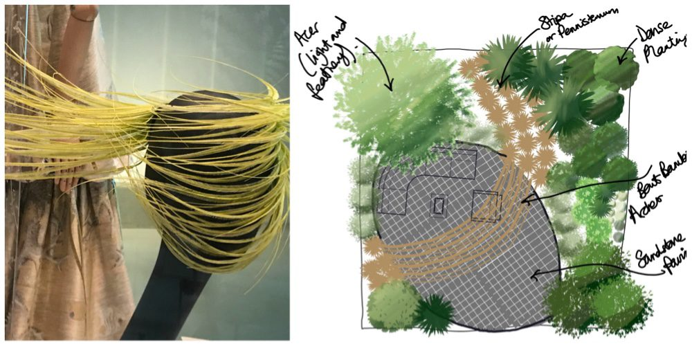 "fashionable garden design inspired by ""wind swept hat"" by Philip Treacy"