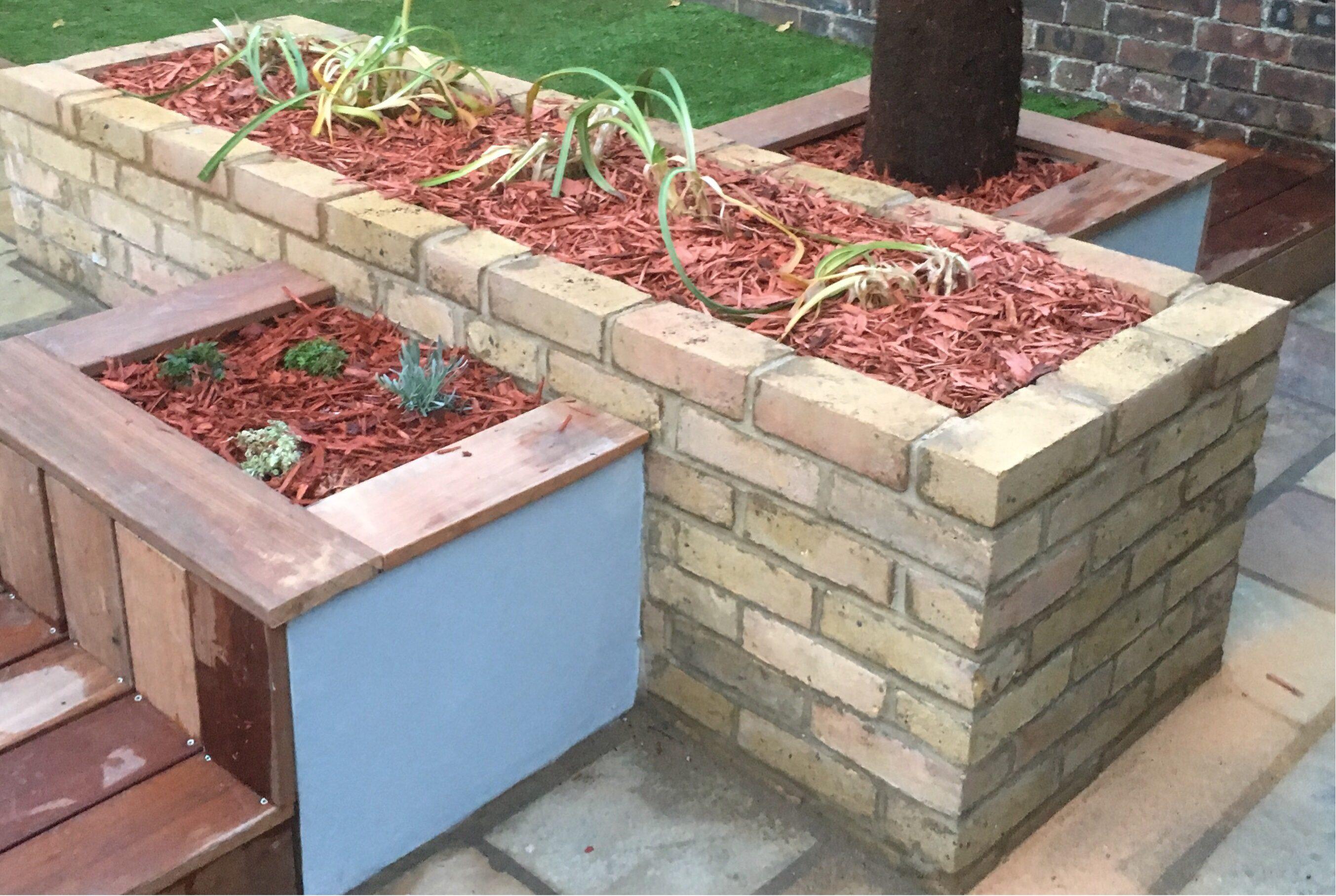 Garden layout design - brick raised bed
