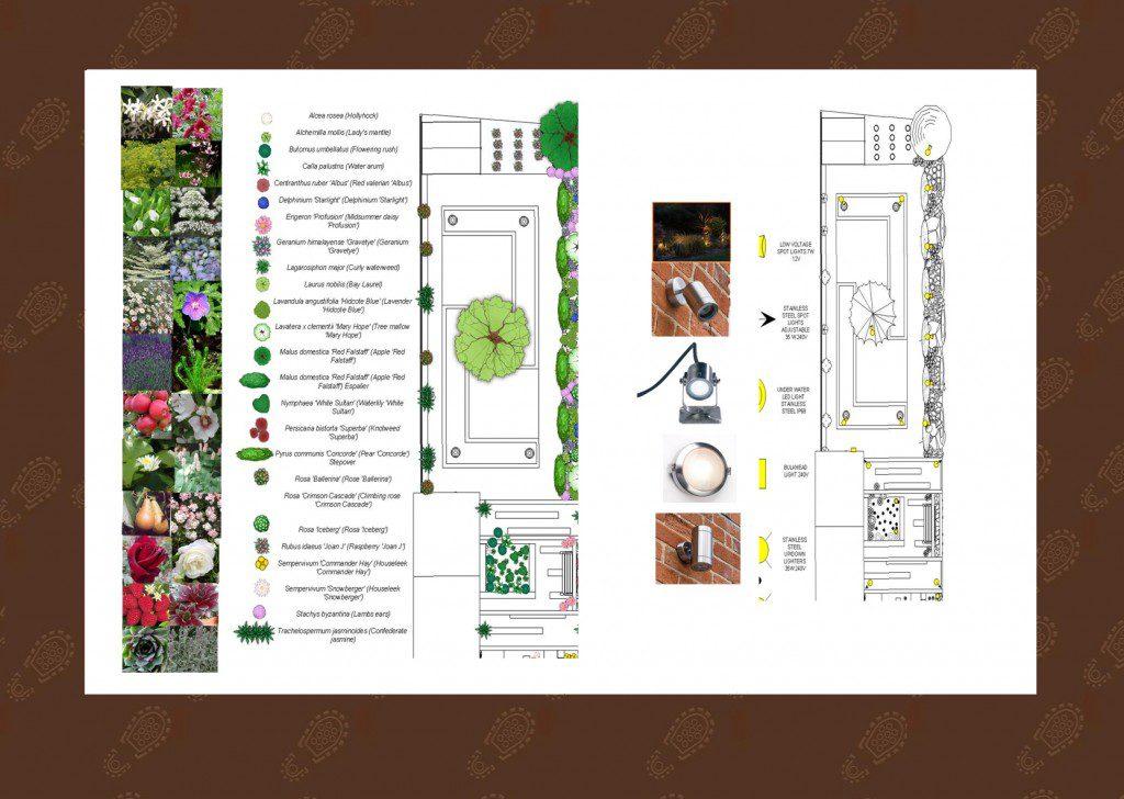 Walthamstow garden design planting plan and lighting design