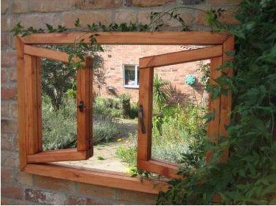 Garden Mirror - Double Window Ajar