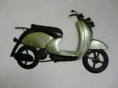 Contemporary metal wall art -Mint Green Scooter