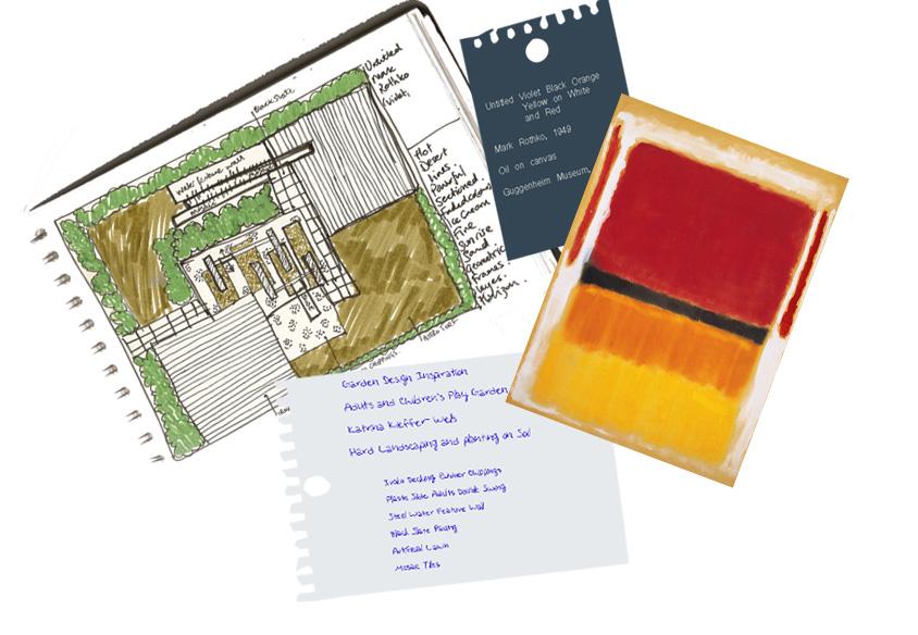 London Garden Design Concept Sketch inspired by Rothko