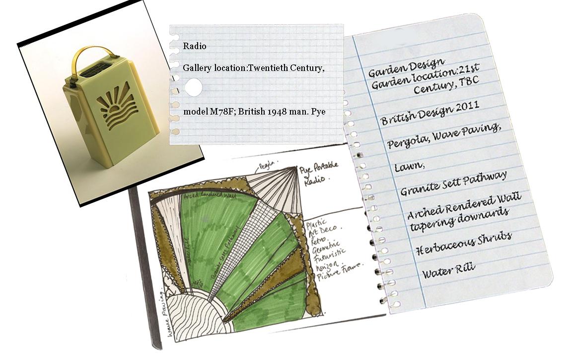 London Garden Design Inspirations: concept drawing inspired by Pye's Bakelite Radio