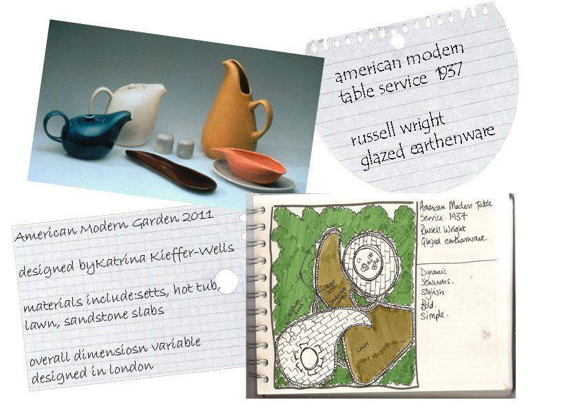 London Garden Design Concept Sketch: American Modern Dinner Service