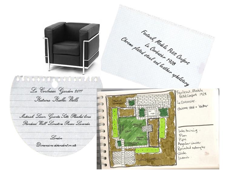 London Garden Design Inspirations Concept Sketch: La Corbusier