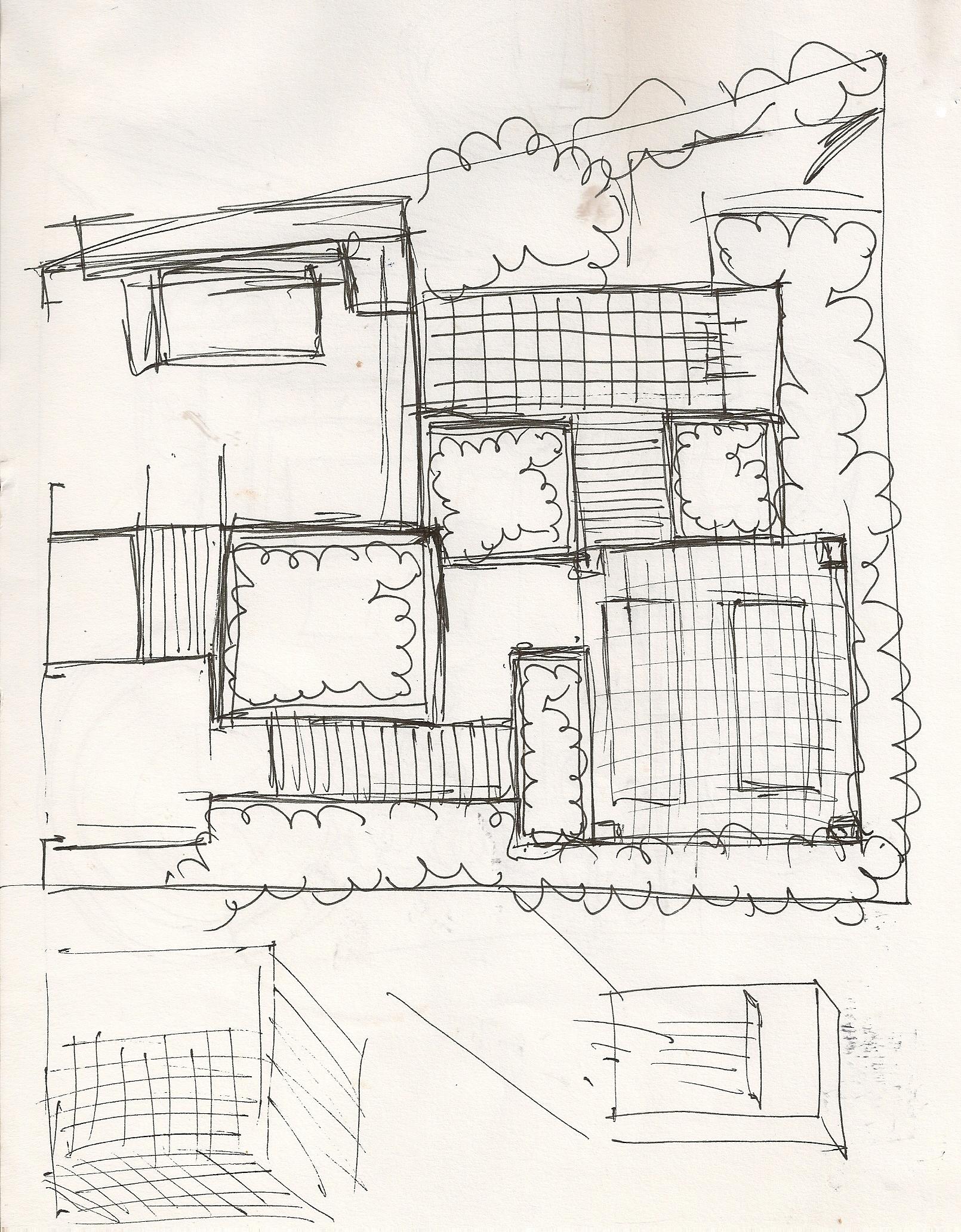 London Garden Design Sketch, Winchmore Hill