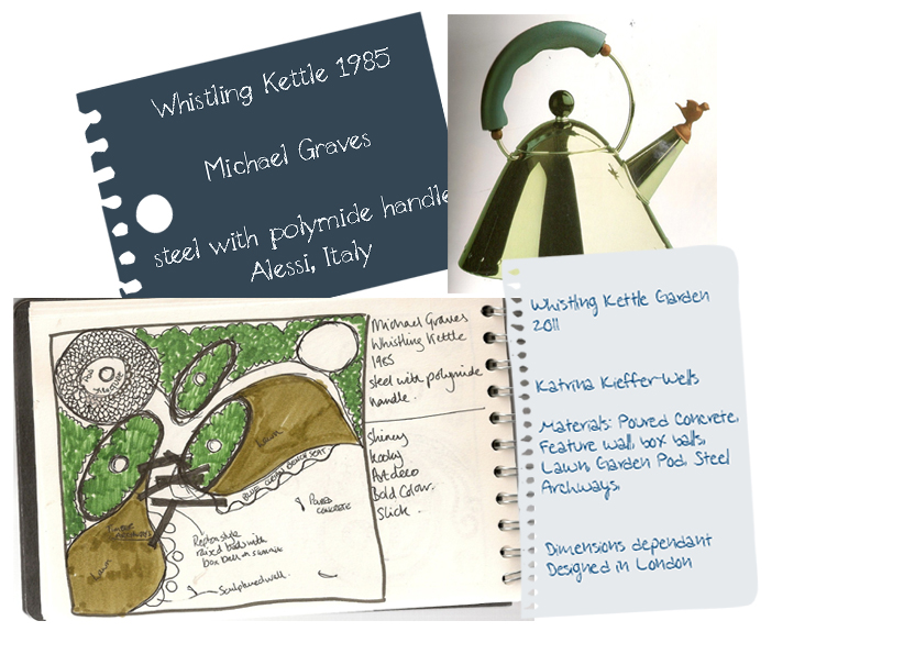 London Garden Design Concept Sketch: Whistling Kettle
