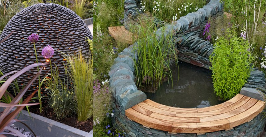 Ideas for a raised water feature stone spehere with dry stone wall surround.