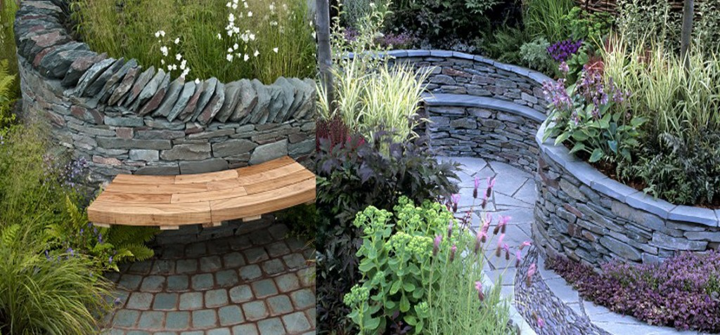 The propsed raised beds for the front area incorporating a wooden bench.