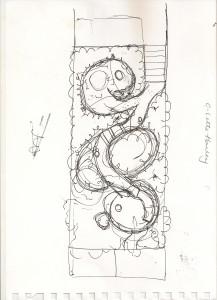 London urban garden design concept sketch