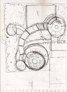 contemporary garden design sketch for large garden
