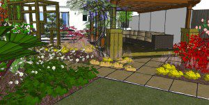 Japanese inspired patio area