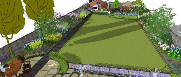 A long pathway to the side allows for a large lawn area