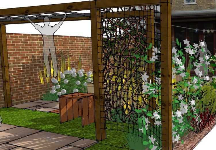 A screen hides away any areas in the garden not to be seen