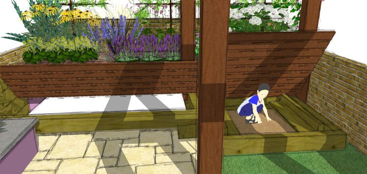 Flip top storage and sandpit extends the gardens use.