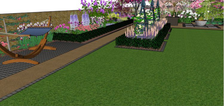 Pathways are edged in yorkstone setts making mowing easier
