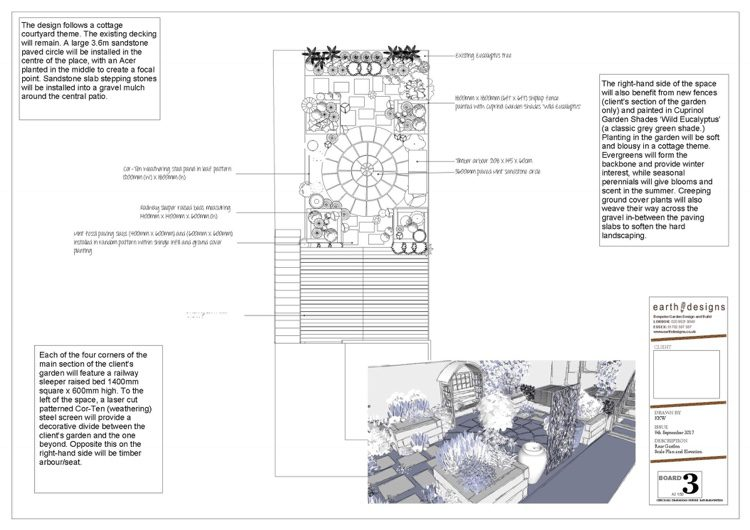 Scale plan produced by the East London garden Designer