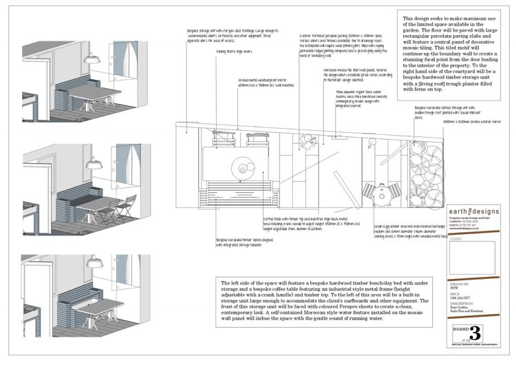 Scale plan showing how the multi-purpose furniture will work