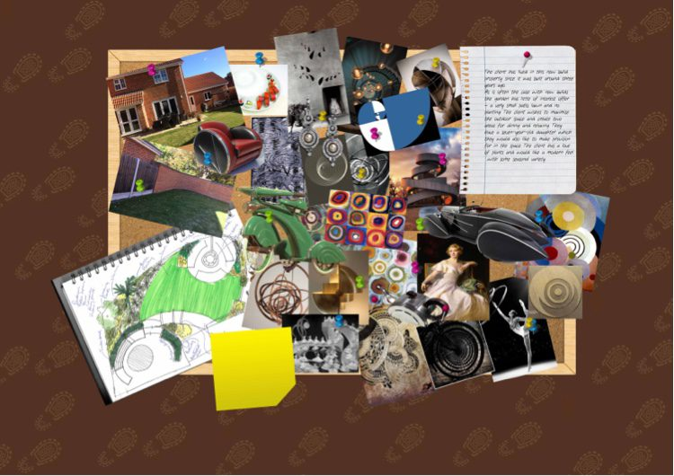 inspiration comes from the Fibonacci sequence, Kandinsky , and Art Deco motives