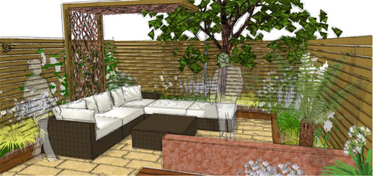 A covered pergola offers privacy