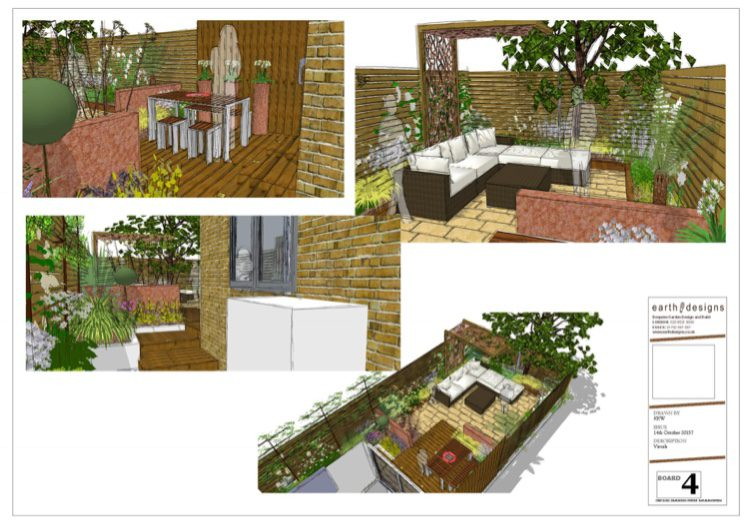 Board 4 shows different angles of the garden