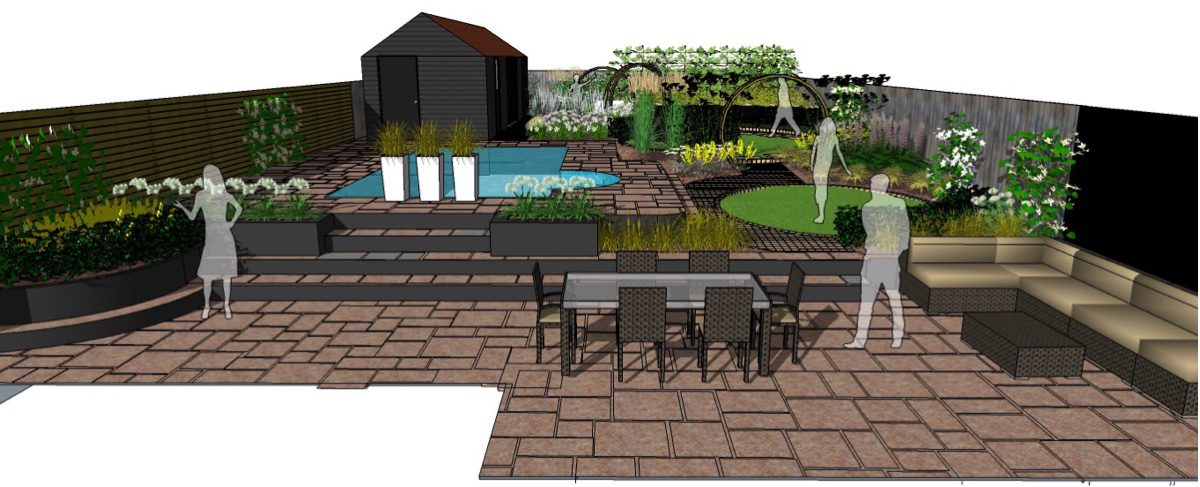 Cedar fence panels and Black Perspex form feature boundaries