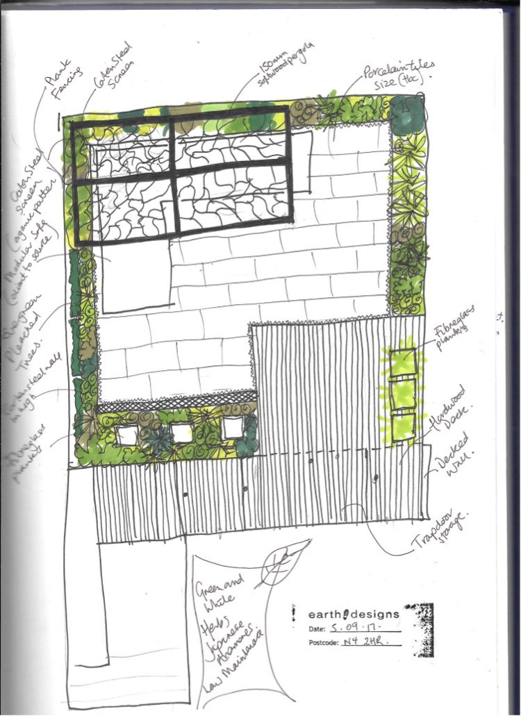Garden sketch for North London Garden design
