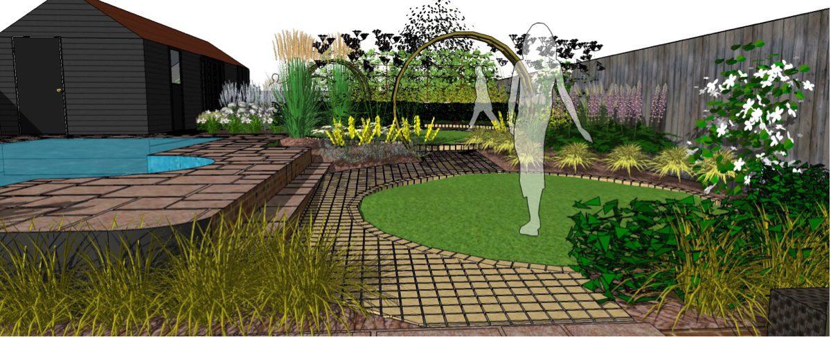 Pathways edge circular lawns in sandstone setts