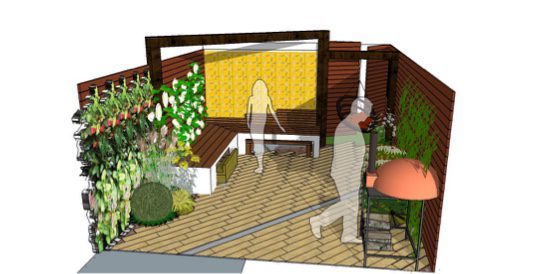 The This courtyard design sees the space packed with lots of tricks