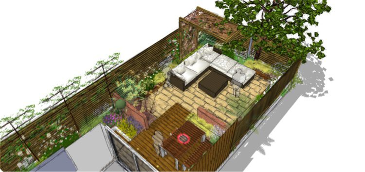 The layout breaks garden into several areas.